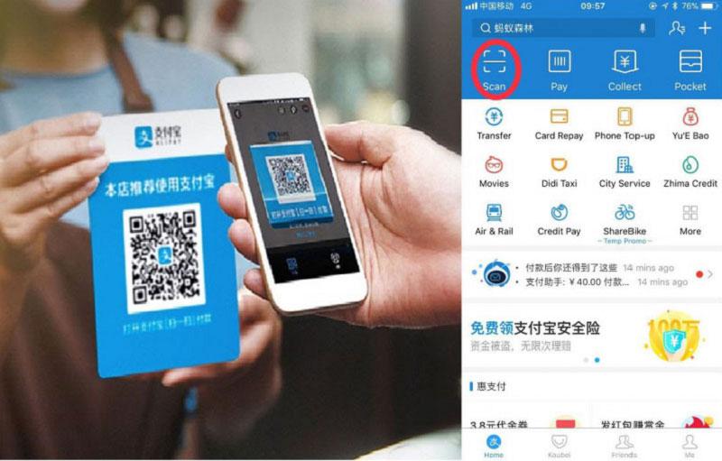 Để thanh toán cần có tài khoản Alipay đã liên kết với ngân hàng nội địa Trung