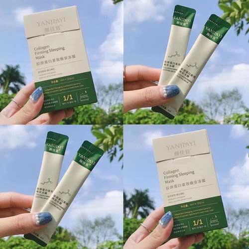 Mặt nạ ngủ thạch collagen nội địa Trung review Yanjiayi